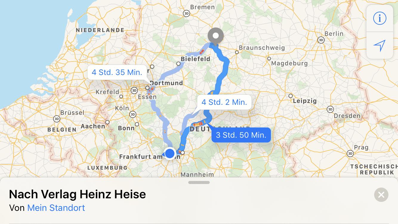 Apple Maps Routen