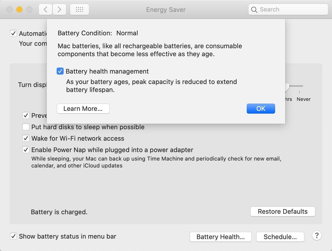 Batteriegesundheit in macOS 10.15.5.