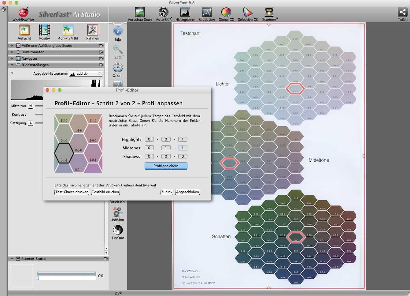 Die Anpassung des Druckerprofils an den persönlichen Geschmack und/oder das Umgebungslicht erfolgt durch die Auswahl bevorzugter Farbfelder aus diesen Musterdrucken.