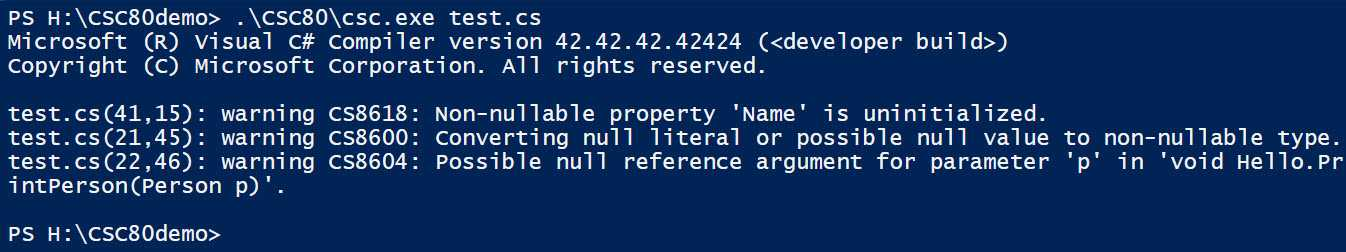 Der C# 8.0 warnt vor möglich NullReferenceExceptions