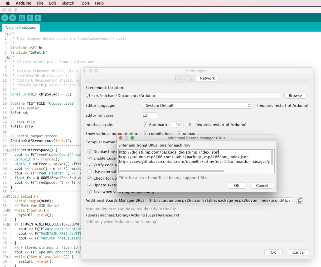 Eintrag der URL in die Einstellungen des Boardmanagers der Arduino IDE
