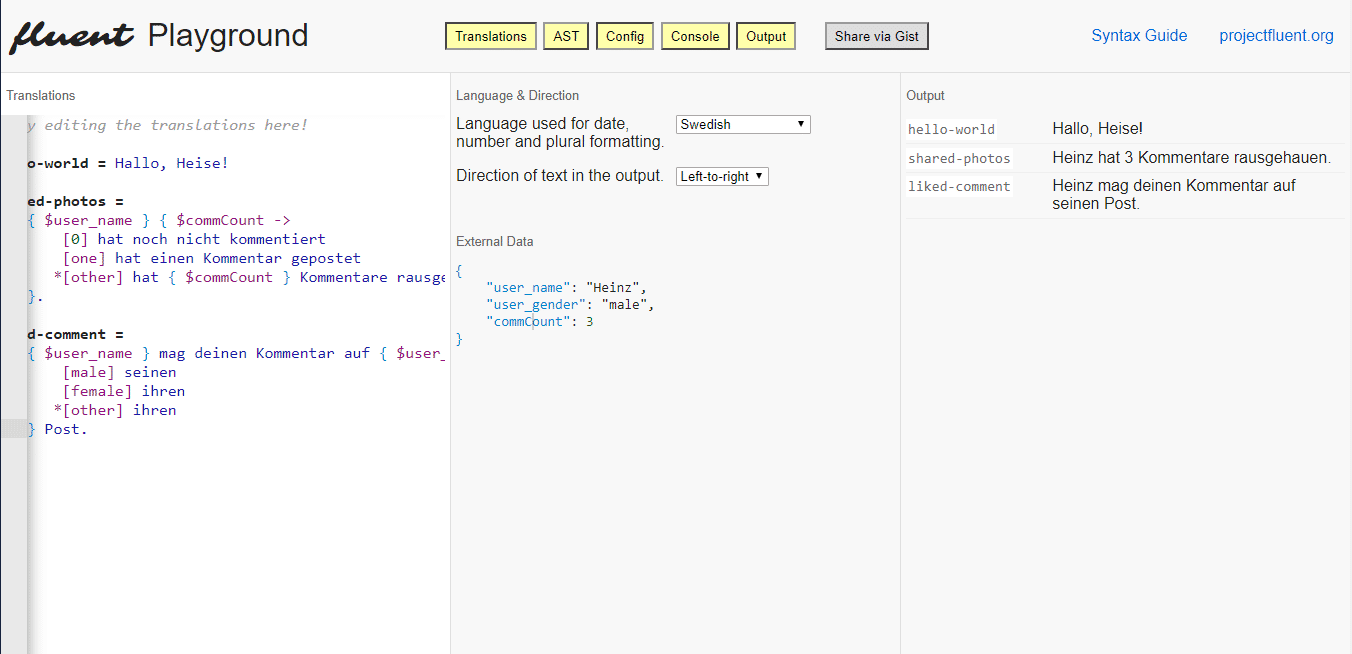 Einfach mal ausprobieren: der Online-Editor von Fluent.
