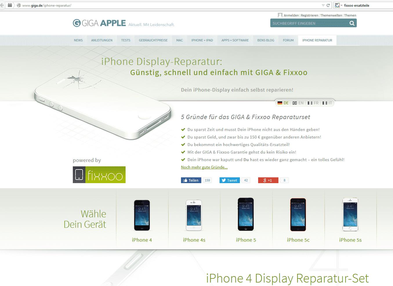 """Heute sprechen Giga und Fixxoo nur noch von """"hochwertigen Qualitäts-Ersatzteilen"""". (Screenshot vom 11.11.2014)"""