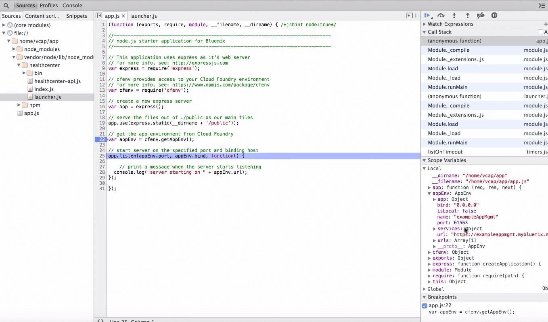 Blick in die JavaScript-Variablen über den Inspector
