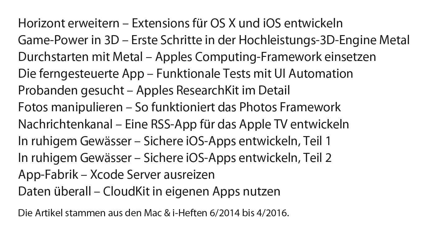 Das Inhaltsverzeichnis des PDF-Dossiers Mac- und iOS-Programmierung