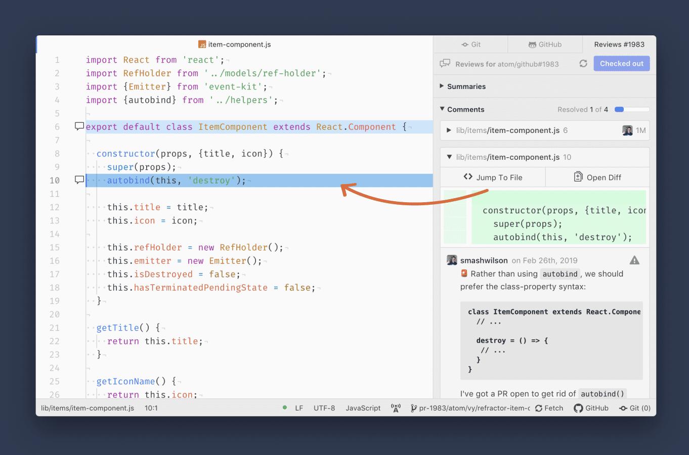 Das separate Kommentarfenster ist Bestandteil der Beta von Atom 1.37.