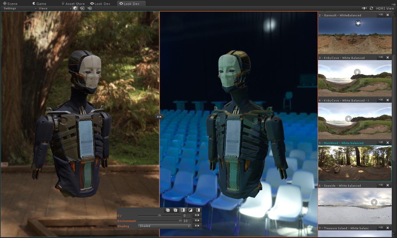 Look Dev zeigt Modelle mit unterschiedlicher Beleuchtung als HDR-Bilder an.