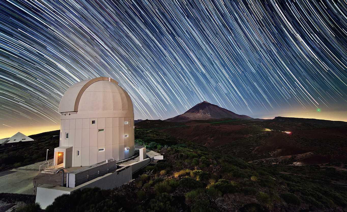 Bodenstation auf Teneriffa: Außer zur Asteroidensuche dient das Teleskop auch für Versuche zur satellitengestützten Laserkommunikation.