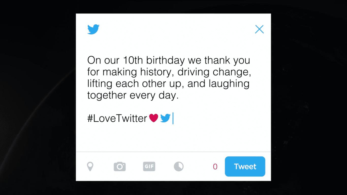 Twitter bedankt sich bei seinen Nutzern