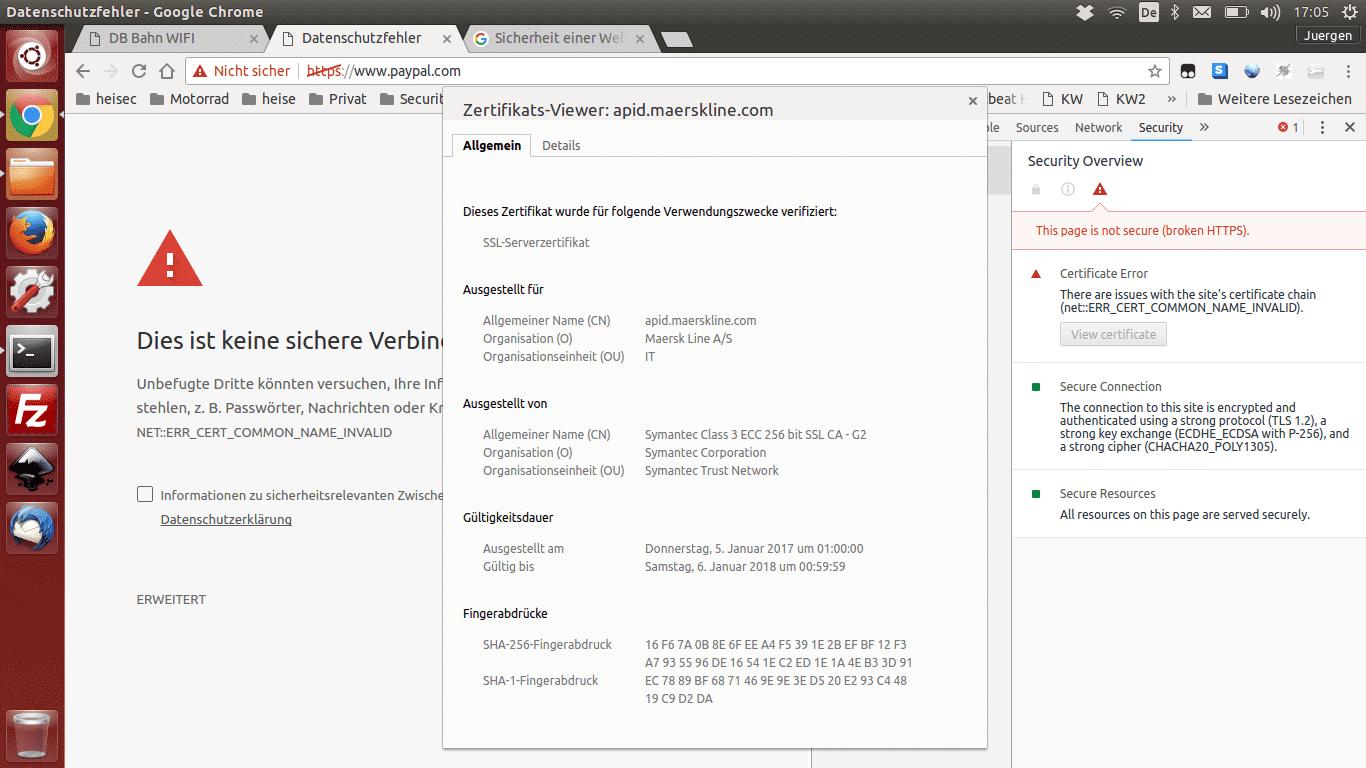 Wie das Zertifikat von Maersk Line in die HTTPS-Verbindung zu PayPal kommt, ist ein Rätsel. Das Phänomen trat nur im WIFIonICE auf.