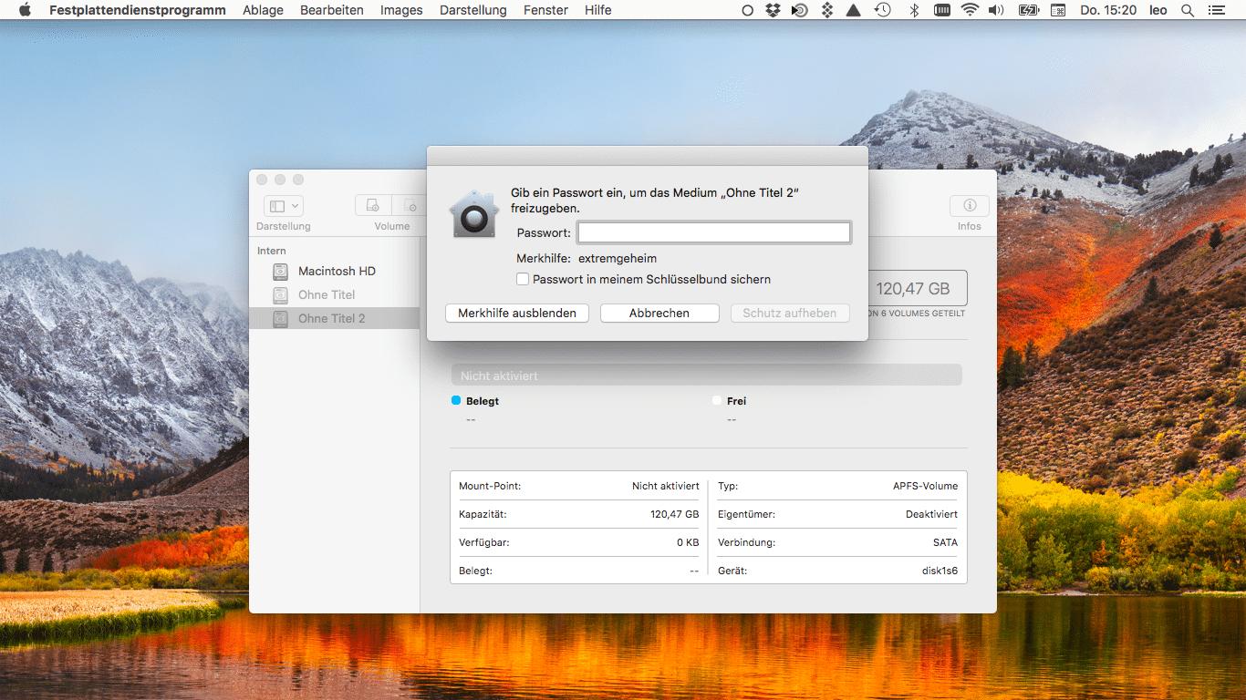 Peinlich: Das Festplattendienstprogramm hinterlegte das Passwort zu verschlüsselten APFS-Volumes im Klartext als Merkhilfe.