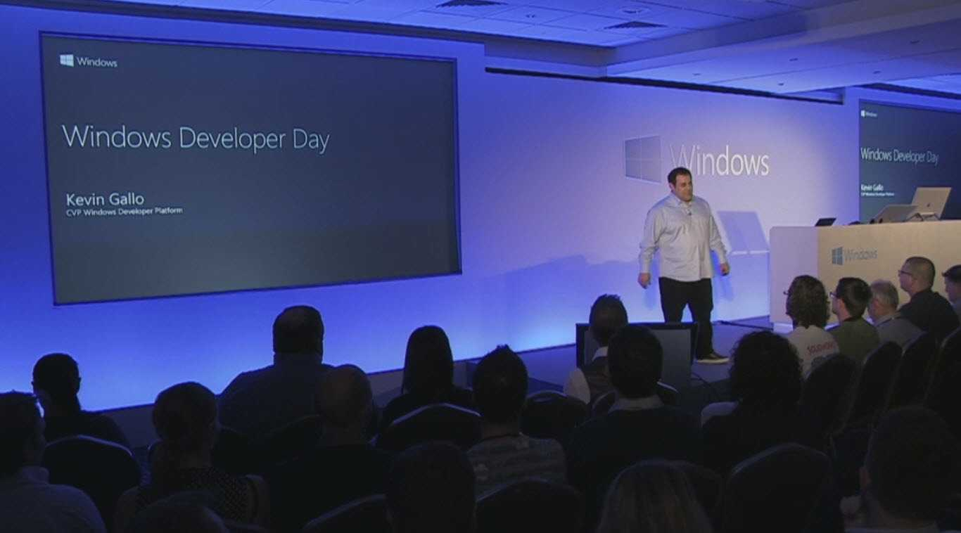 Kevin Gallo, Vice President Windows Developer Platform bei Microsoft präsentiert das neue Windows SDK beim Windows Developer Day 2017