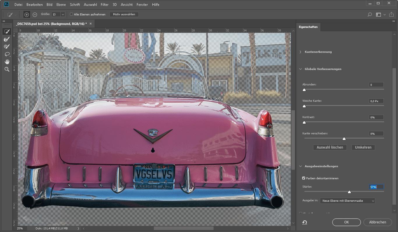 Die Auswahlränder kann man nun über einen Schieberegler von überfließender Hintergrundfarbe reinigen.