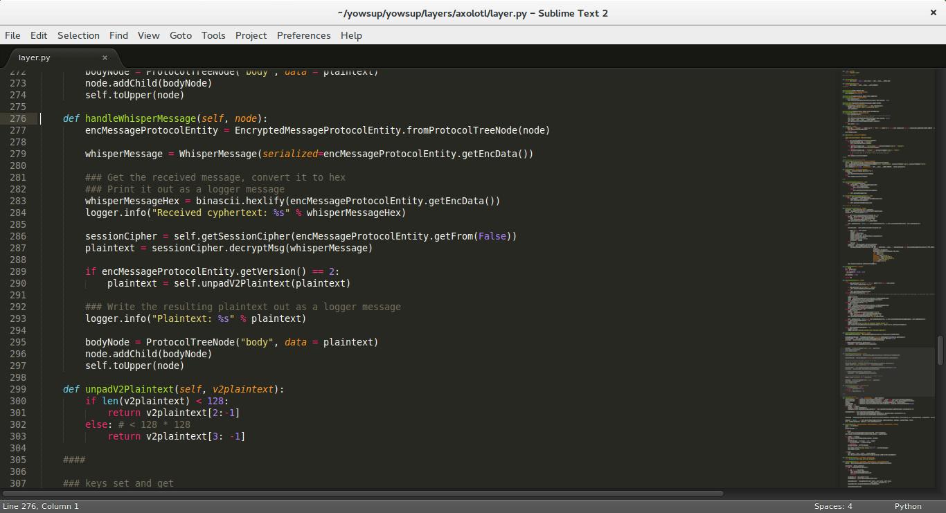 Unser leicht angepasster Patch des yowsup-Codes.