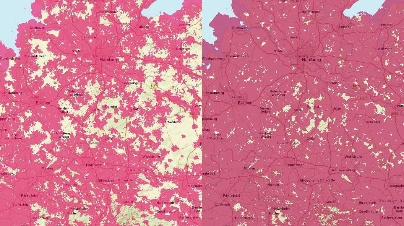 Die LTE-Netze (rechts) sind erheblich besser ausgebaut als die älteren UMTS-Netze (links). Die Schere zwischen den beiden wird künftig noch weiter aufgehen. Das Bild zeigt die Versorgungskarte der Telekom.