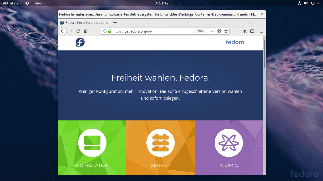 Gnome bei der Fedora 29 Workstation Edition