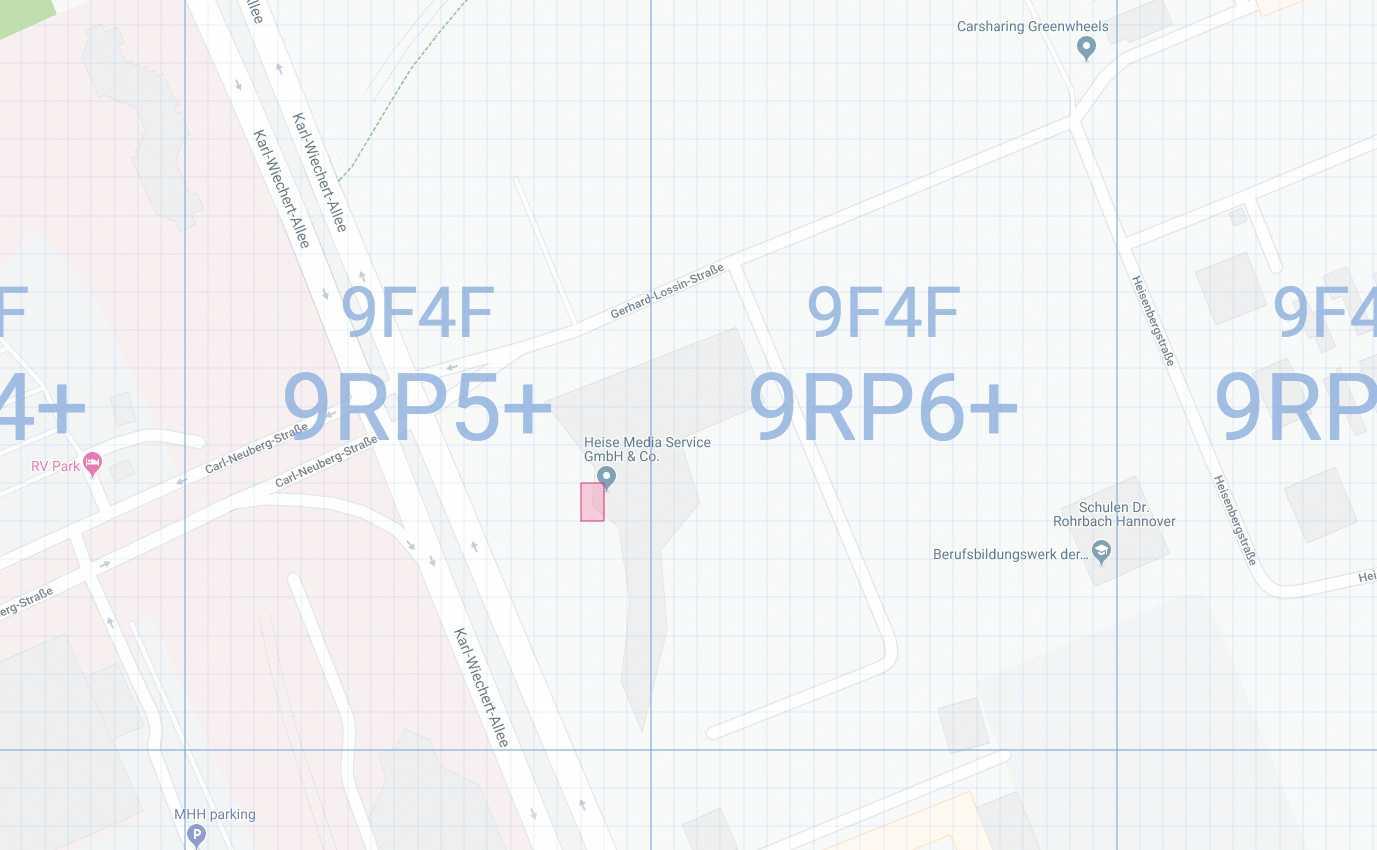 Karte mit darüber gelegten zehnstelligen OLC-Kästchen