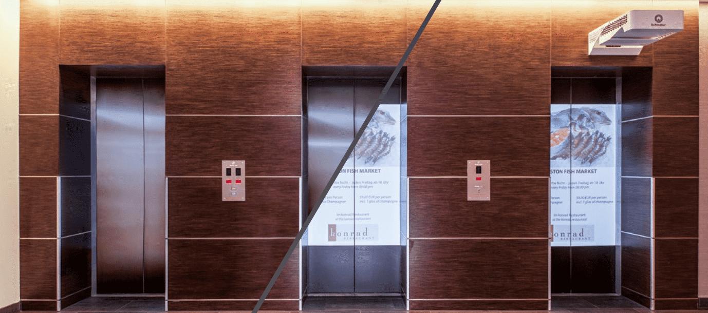 Ein Beamer macht Aufzugtüren zu Werbeflächen.