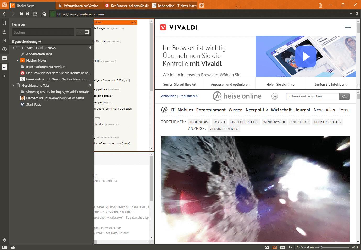 Vivaldi 2.0 kann gekachelte Tabs skalieren und die Seitenleiste über die Inhalte legen. Das Cloud-Icon unten links führt zur Account-Synchronisierung.