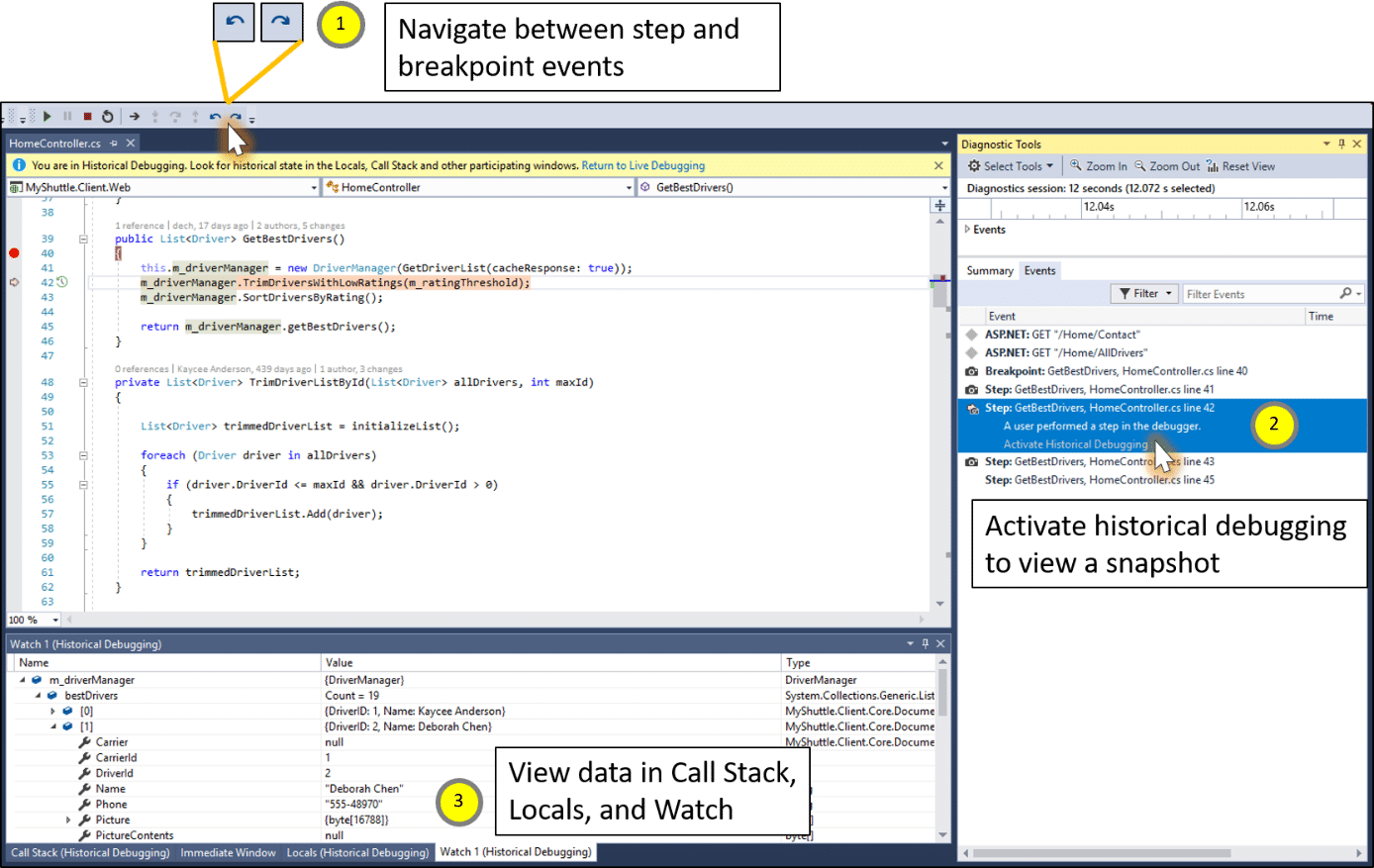Historial Debugger in Visual Studio 15.5
