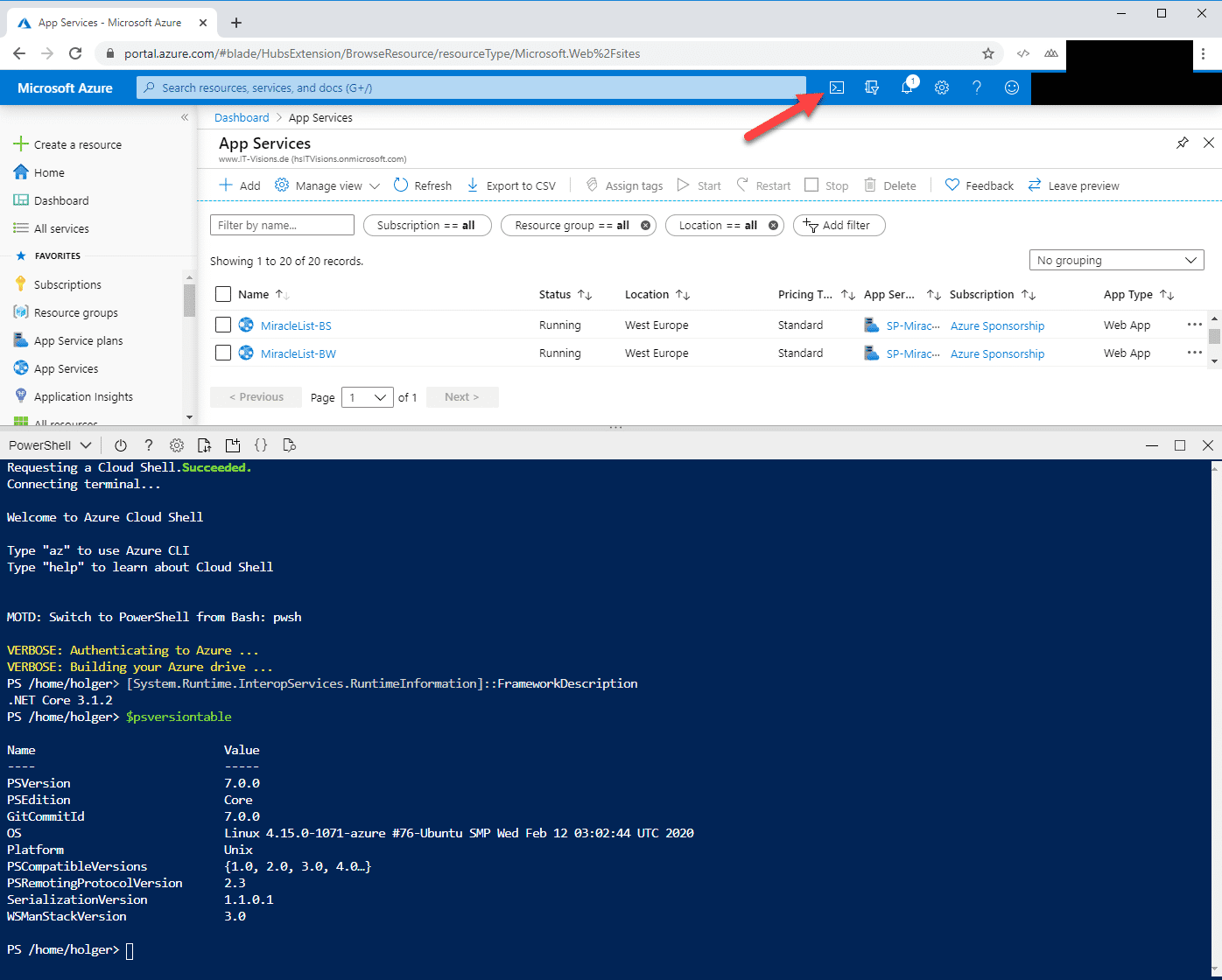 PowerShell 7.0 in der Azure Cloud Shell