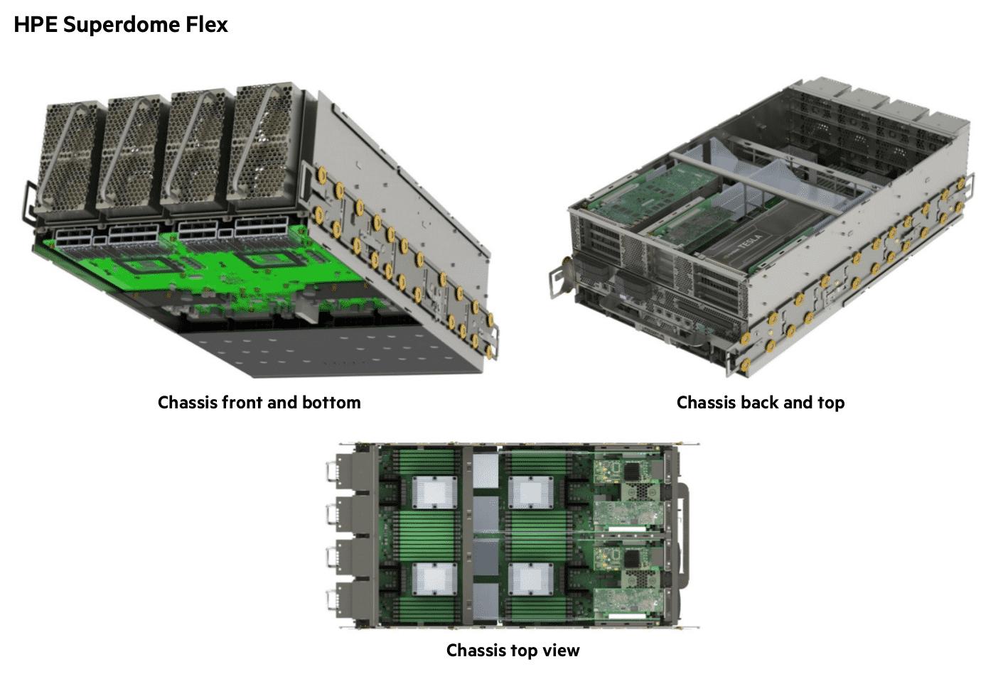 Ein Chassis des neuen Superdome Flex fasst bis zu 8 Vier-Sockel-Server mit Xeon-CPUs und jeweils bis zu 6 Terabyte Hauptspeicher. Zwei Chassis können per Interconnect verbunden und so der Hauptspeicher geteilt werden.