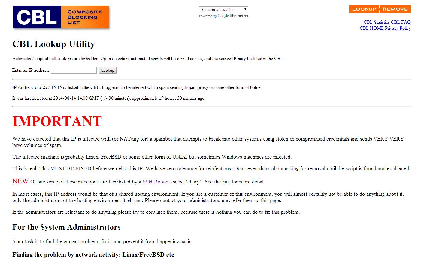 Die Mail-Server stehen unter Verdacht, SEHR SEHR viel Spam versendet zu haben.