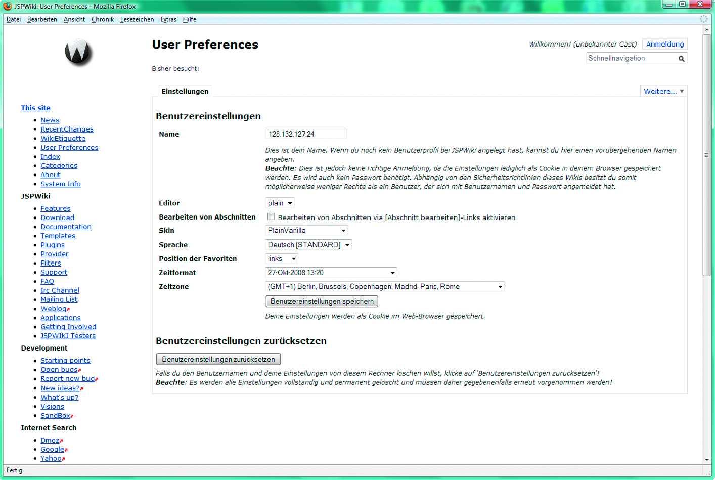 Die Benutzereinstellungen des JSPWiki