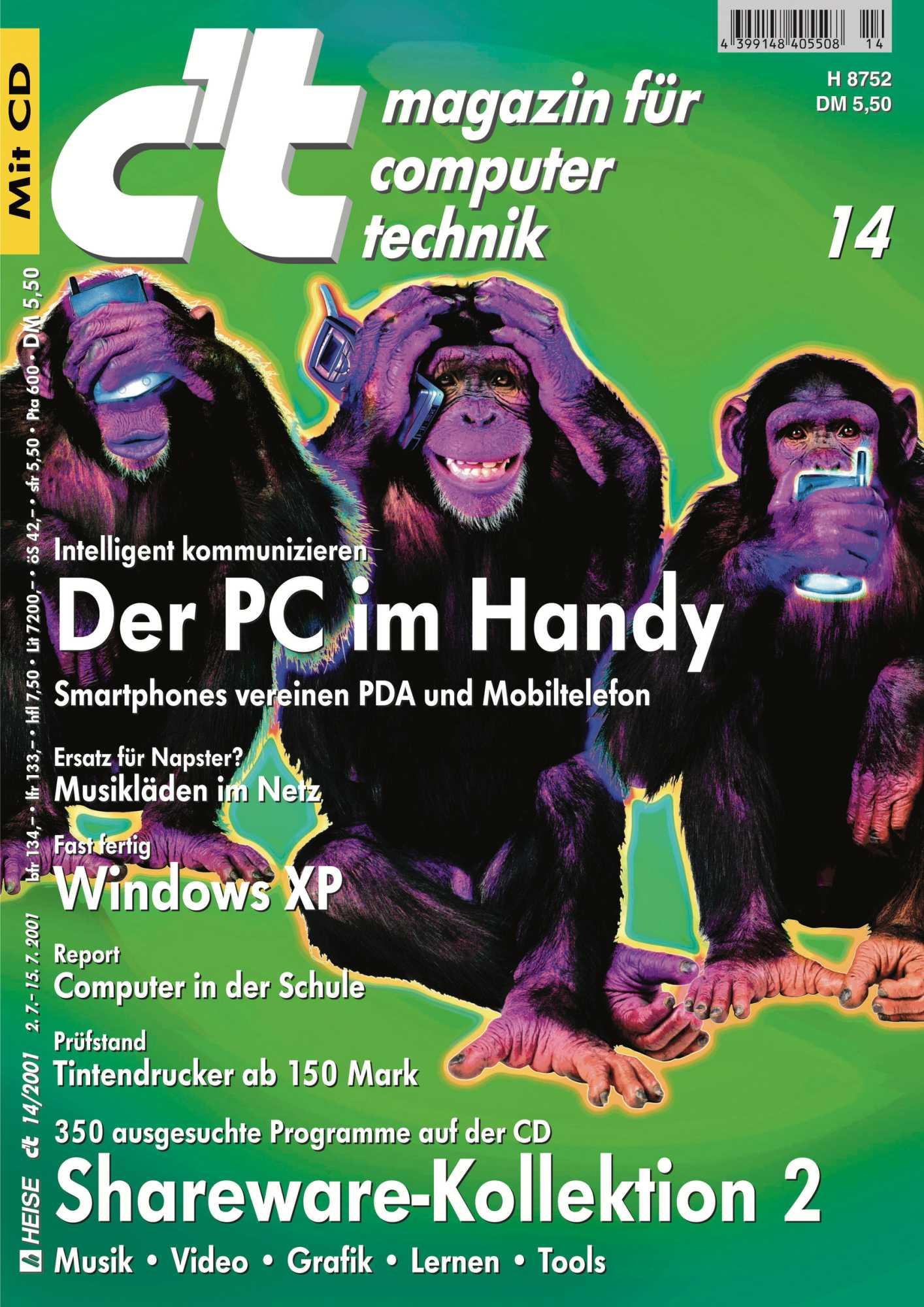 Für dieses Titelbild musste kein Schimpanse leiden – die drei bekamen die Handys nachtr?glich per Bildbearbeitung in die Pfote gelegt.
