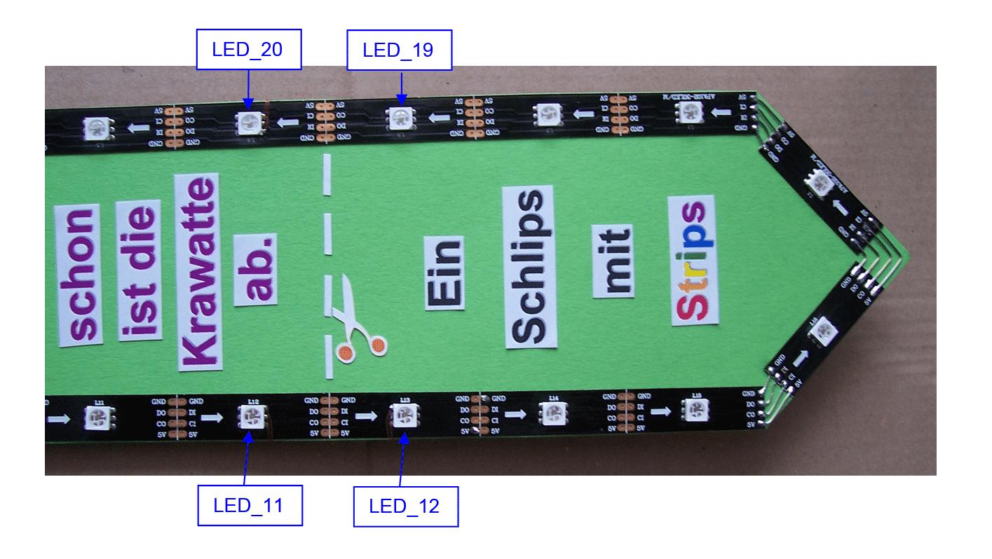 Spitze der LED-Krawatte: die LEDs vor und hinter der Schnittkante sind markiert.
