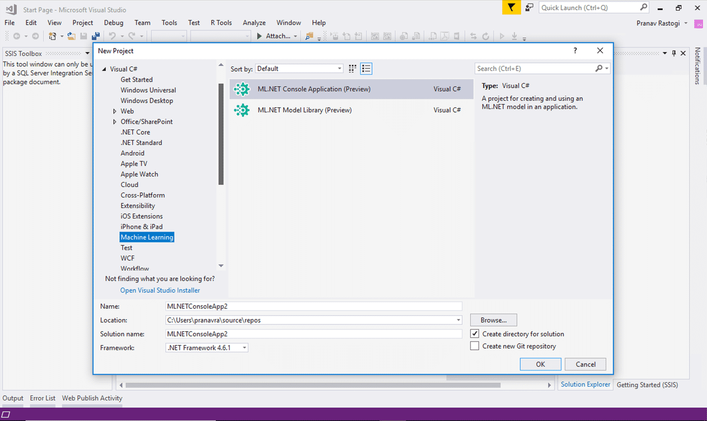 Die Visual-Studio-Vorlagen haben noch Preview-Status.