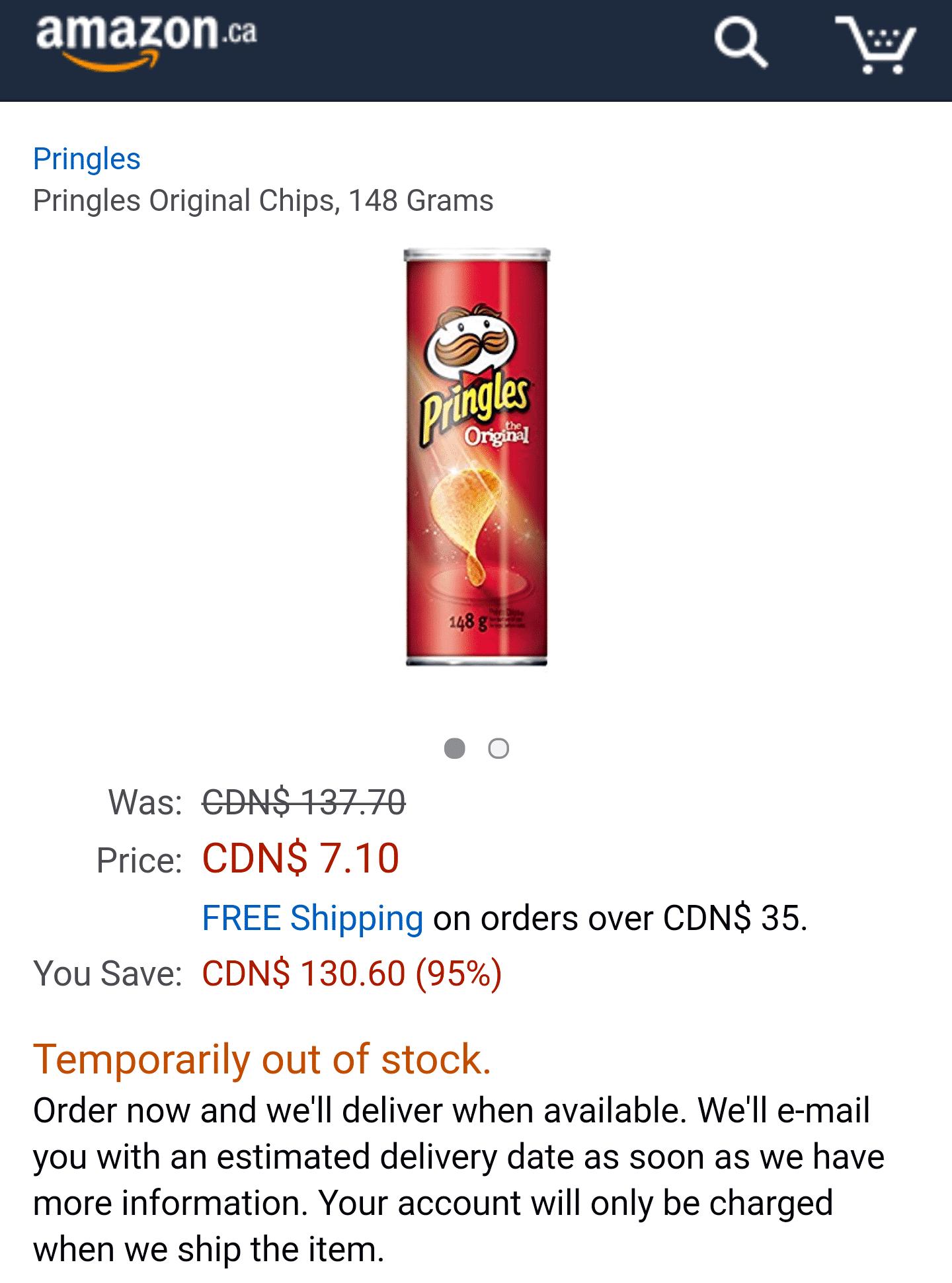Pringles-Dose statt CDN$ 137.70 nur noch CDN$ 7.10