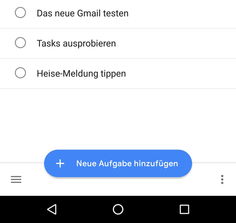 Viel Weiß, ein bisschen Schwarz: Die Tasks-App von Google ist sehr minimalistisch gestaltet.