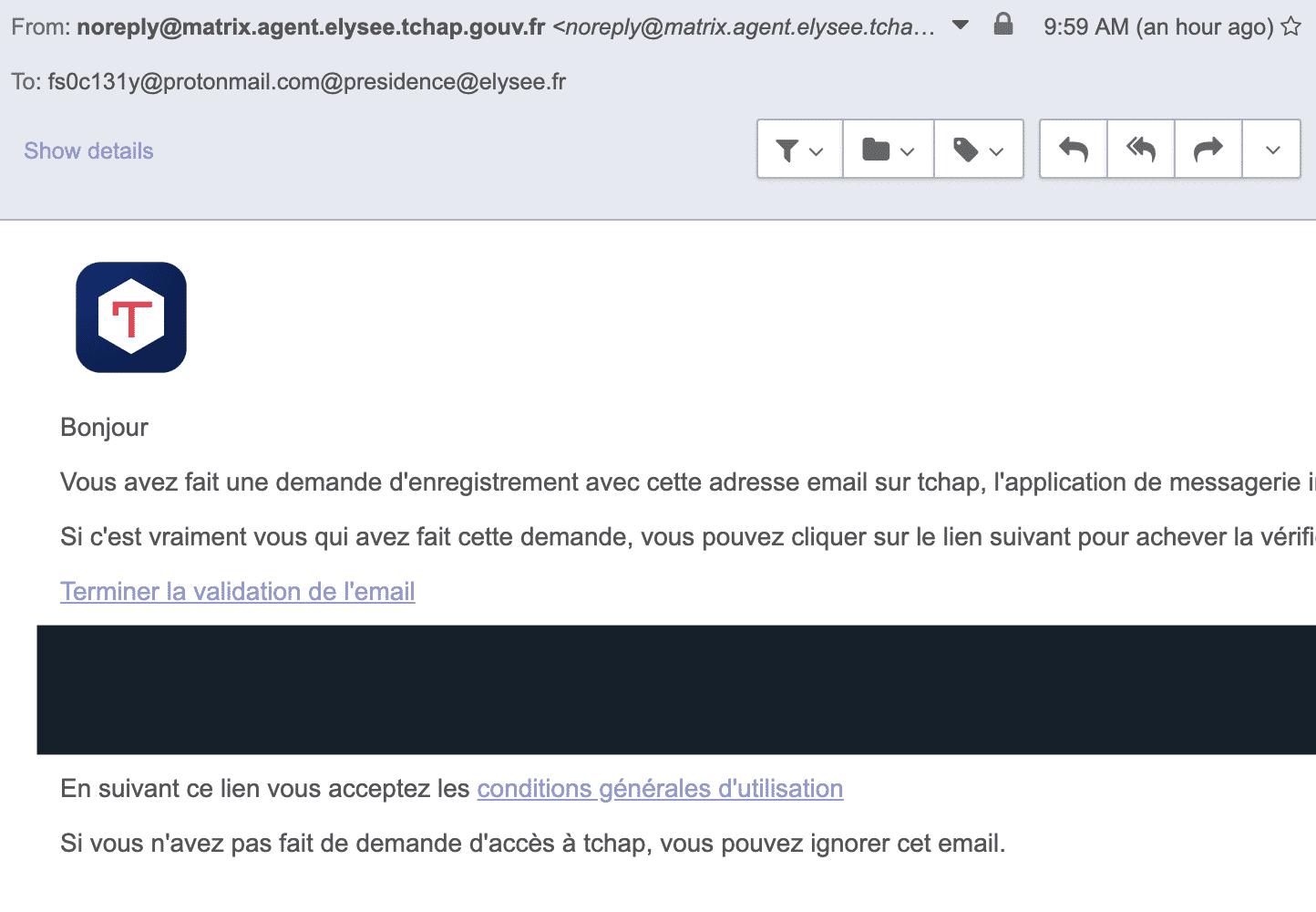 """""""Ich bin drin!"""" - Nach einer Stunde hat Alderson/Robert die Bestätigungs-Mail für den Tchap-Chat."""