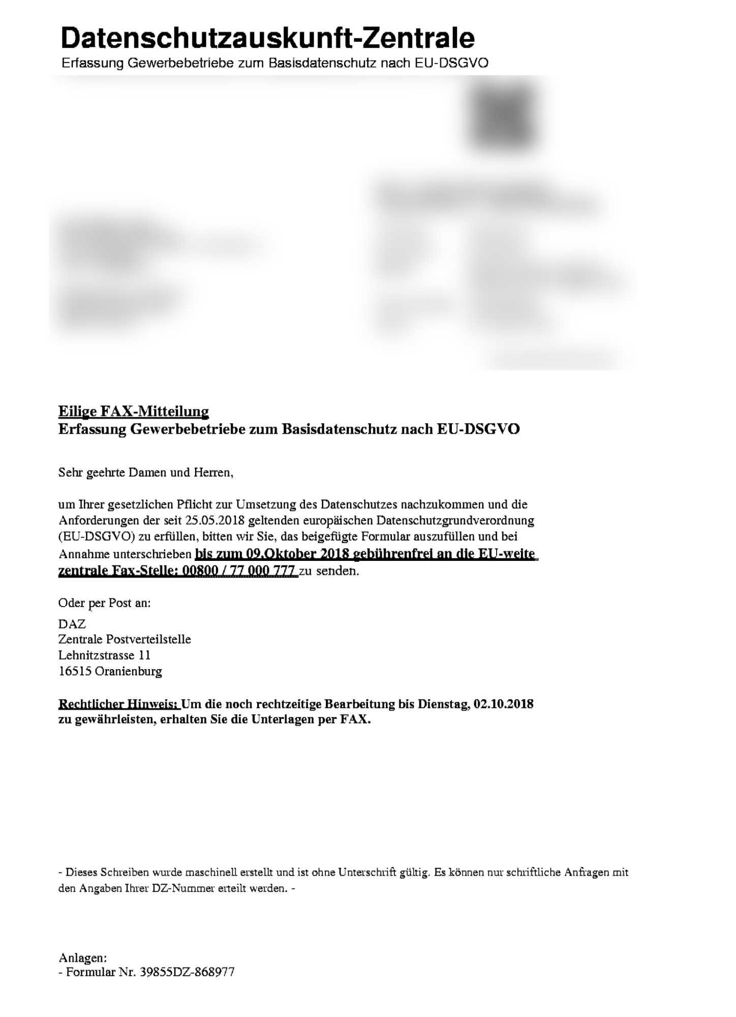 """""""Datenschutzauskunft-Zentrale"""": Abzockversuch mit der DSGVO"""