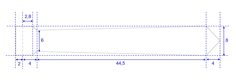 Zeichnung Abmessungen LED-Schlips.