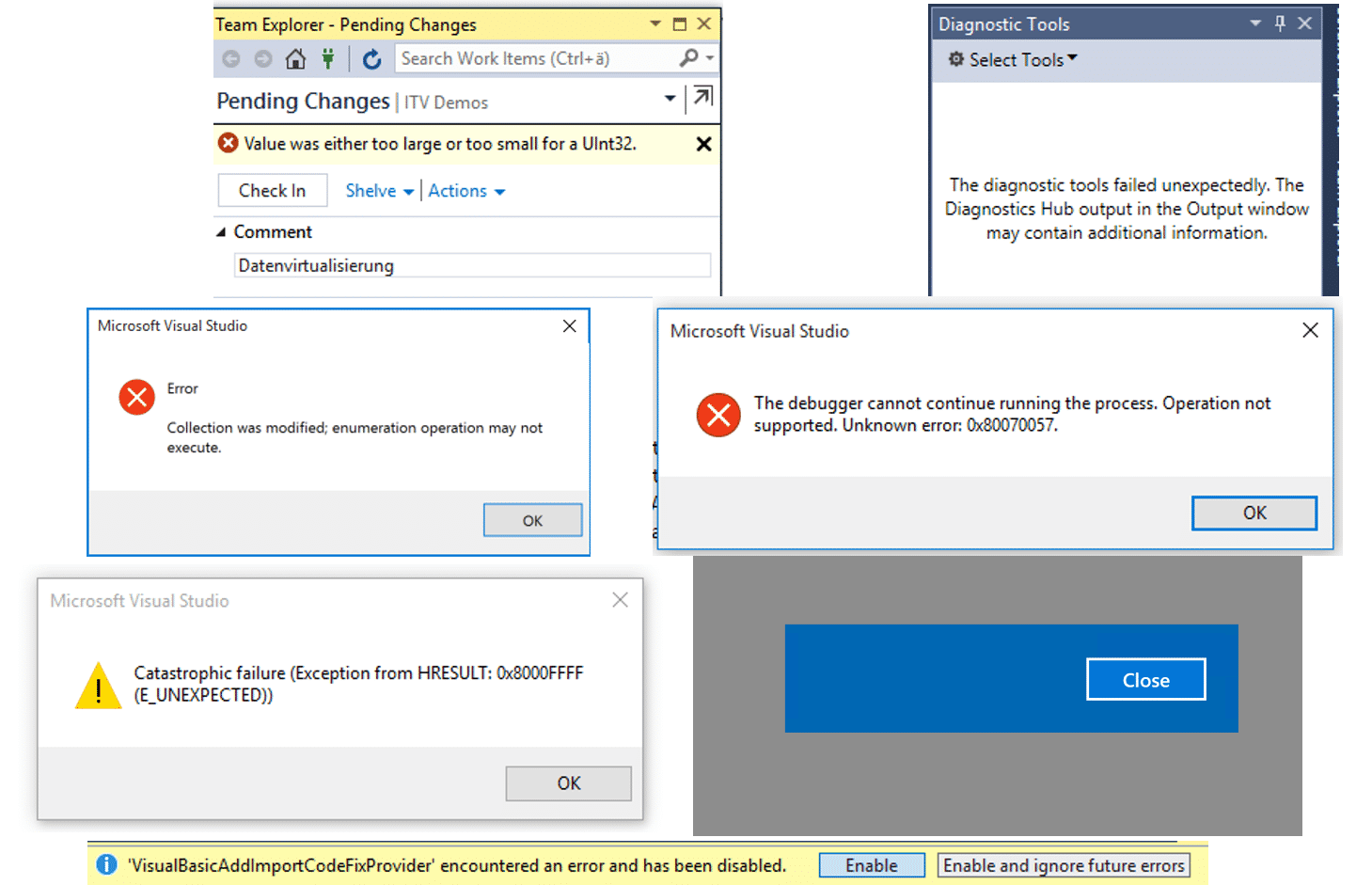 Bugparade für Visual Studio 2015