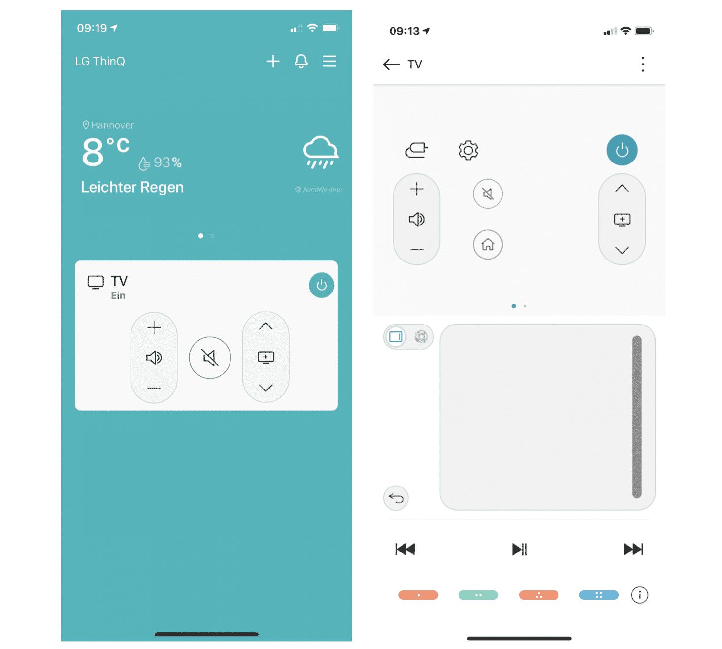 """Hat man in der """" LG ThinQ""""-App seinen Fernseher registriert, erscheint auf der Startseite eine Mini-Fernbedienung (linkes Bild). Tippt man bei dieser auf die weiße Fläche, gelangt man auf eine größere virtuelle Fernbedienung (rechtes Bild), auf der unten links der Info-Button zu finden ist."""