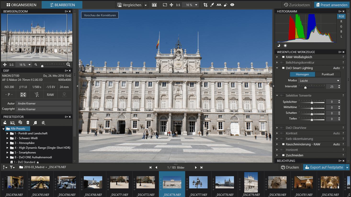 DxO OpticsPro 11 nutzt Gesichtserkennung
