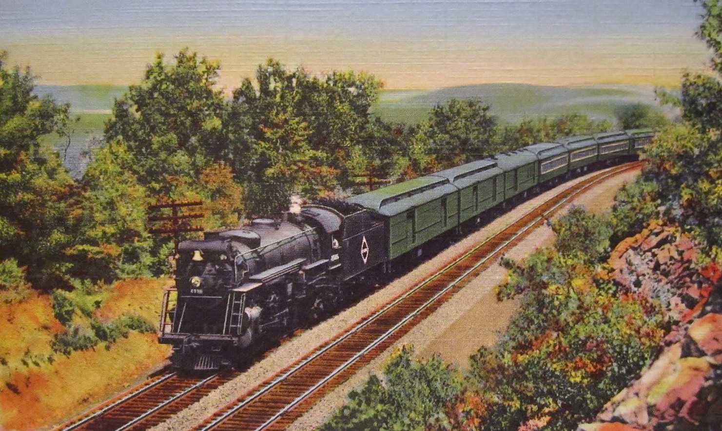 Colorierte Darstellung eines Personenzuges mit Dampflok