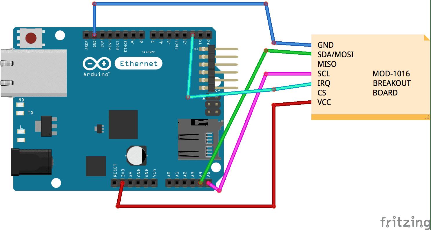 Anschluss des MOD-1016 per IIC an Mega plus Ethernet-Shield