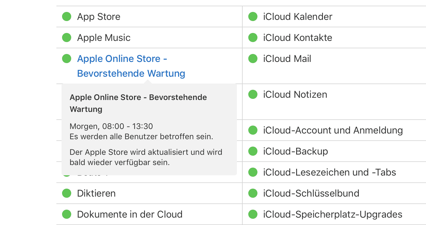 Apple Online Store Wartung