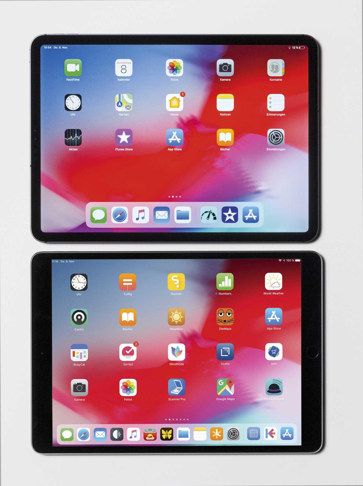 """Das neue iPad Pro 11"""" hat ein breiteres Display als der Vorgänger mit 10,5"""", aber trotzdem ein kleineres Gehäuse."""