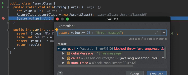 Der Debugger berechnet unter anderem Assert-Ausdrücke.