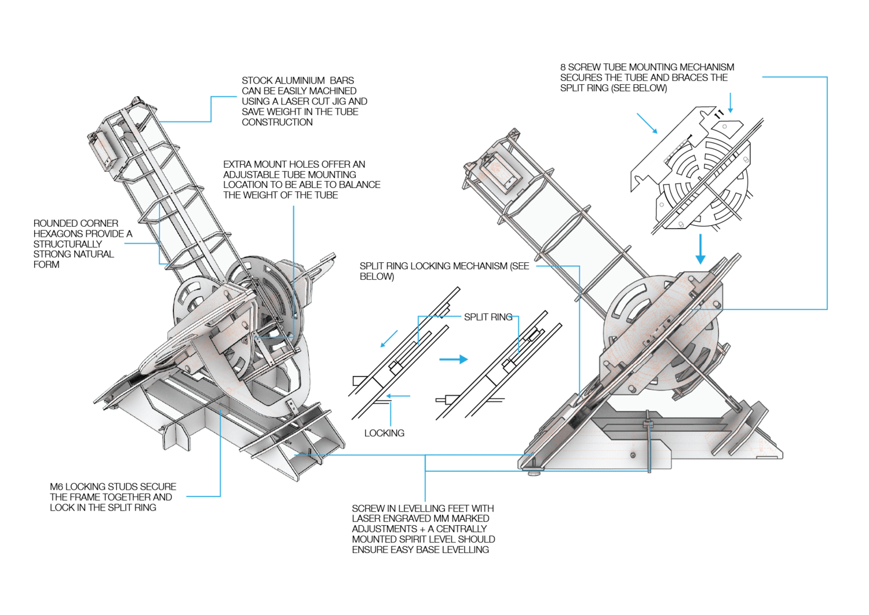 Die Blaupause auf der Webseite der Open Space Agency zeigt erste Details der Teleskop-Konstruktion.