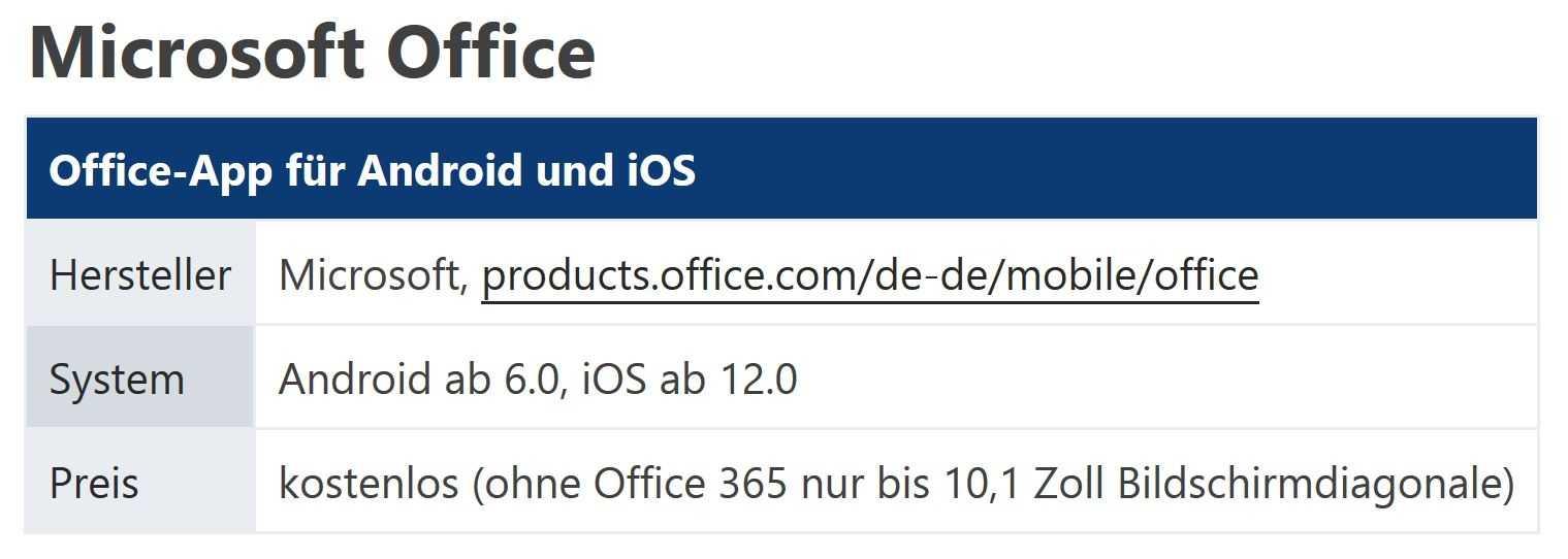 Microsoft Office App für Android und iOS