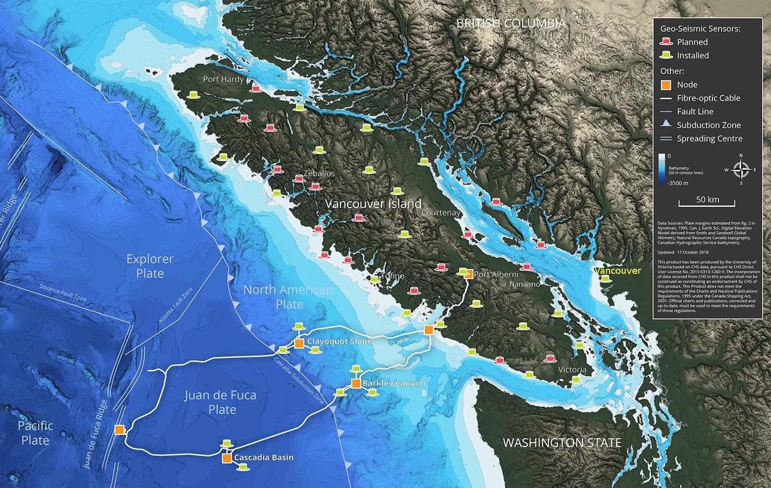 Landkarte Vancouver Islands und Umgebung, auf der Sensoren und ein Unterwasser-Glasfaserring eingezeichnet sind
