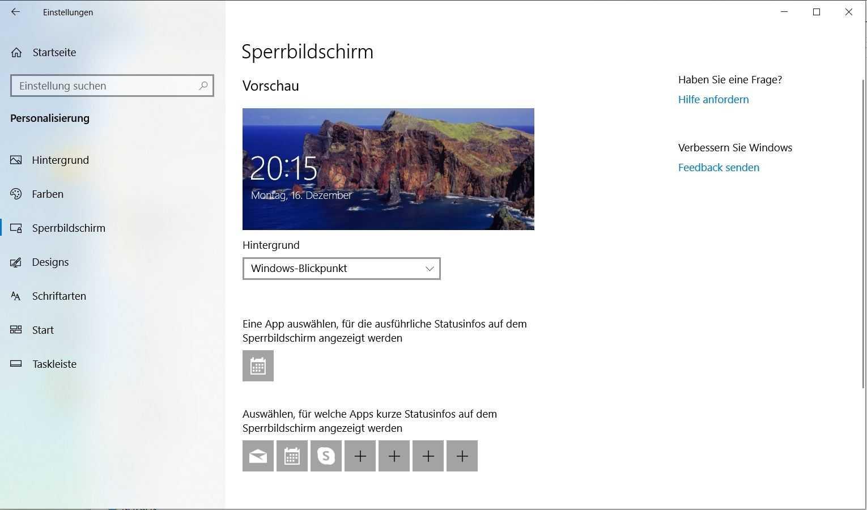 """""""Windows-Blickpunkt"""" versieht den Sperrbildschirm täglich mit schicken Hintergrundbildern. Wer das nicht mag, kann stattdessen ein festes Bild oder eine Diashow auswählen"""
