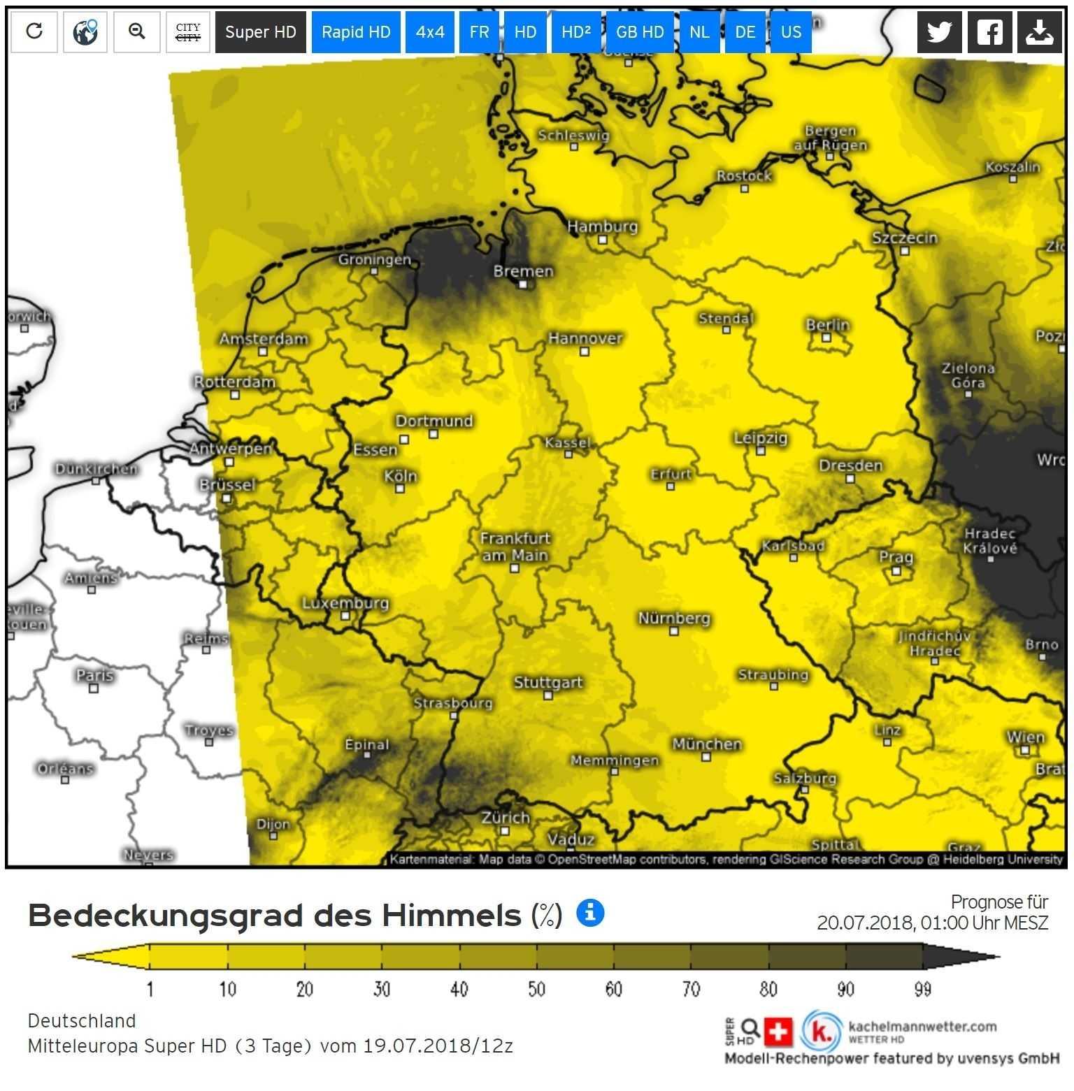 Bedeckungsgrad des Himmels in % des Mitteleuropa Super HD Modell.