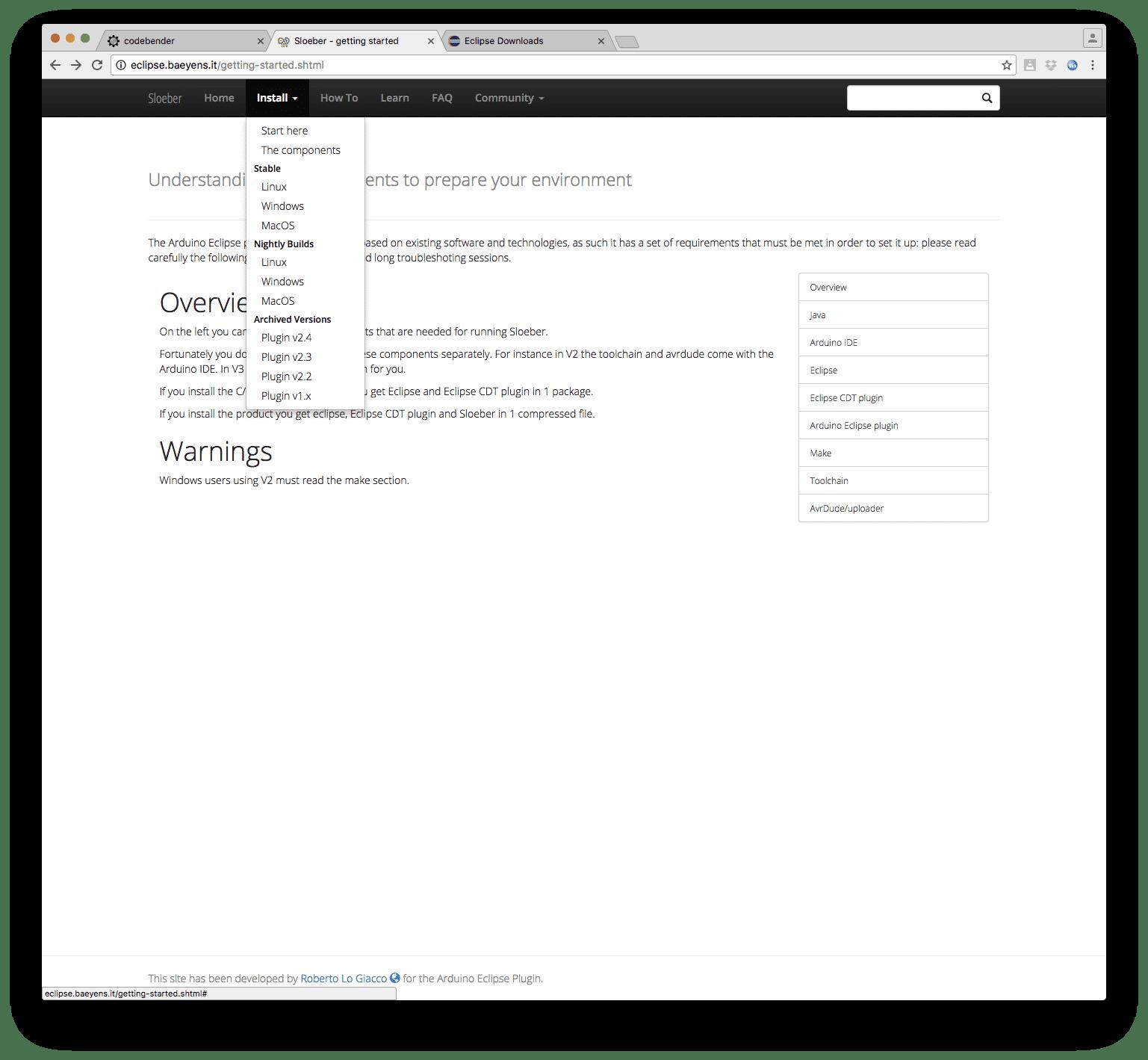 Sloeber bietet Download vom Plugin oder einem kompletten Bundle für Linux, Windows, macOS